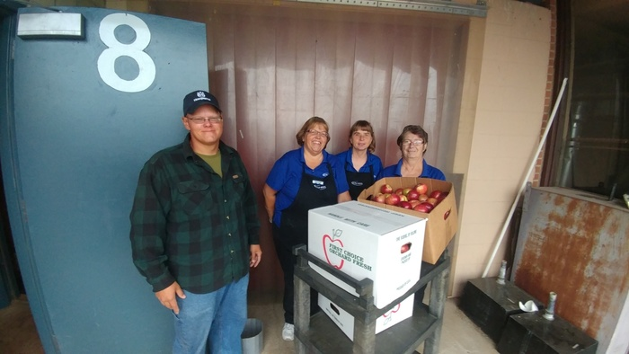 Cralson's Orchard delivers apples to Kimball Schools for the lunch program.