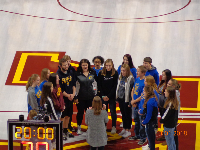 Kimball Senior High Choir members singing the National Anthem at the Minnesota Gophers basketball game last night!