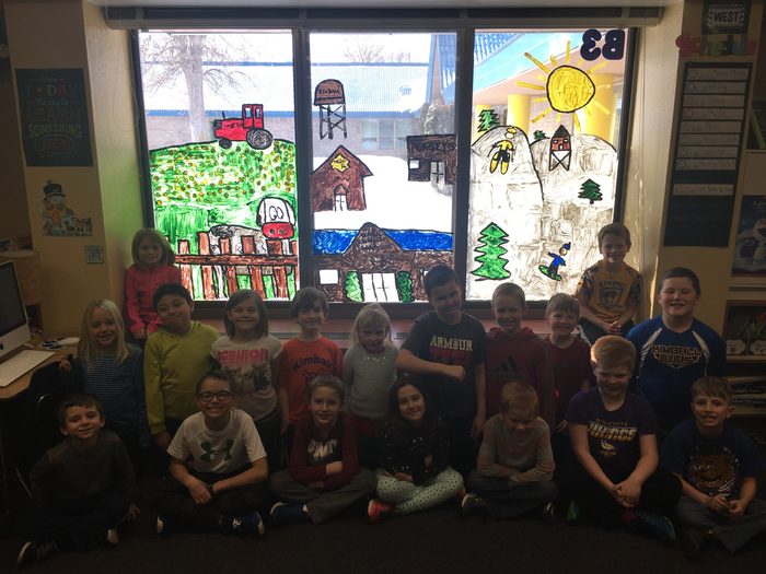 Ms. Olmscheid's class with their mural.
