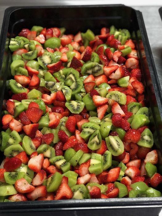 Fresh Strawberries and Kiwi prepared for the students Friday at Lunch.